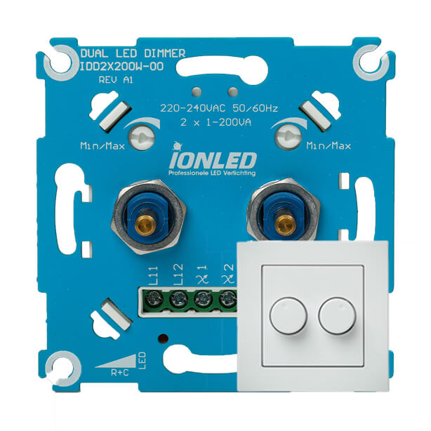 LED Dimmer Duo 2x200W (IDD 2x200W) Achterkant met faceplate